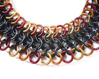 Mesh chainmaille bracelet, European 4 in 1 chain mail, Gothic chainmaille bracelet, Black, gold, orange and red chain mail jewelry