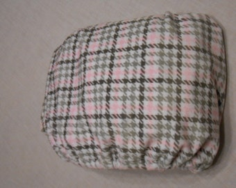 Pink and Gray Houndscheck Cuddle Fitted Baby Crib Sheet