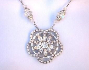 SALE Crystal Rhinestone Assemblage Necklace Bridal Jewelry Repurposed Vintage Jewelry