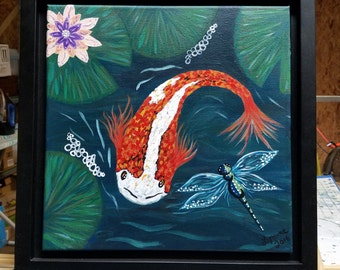 Koi in a Pond - Acrylic Painting - Framed