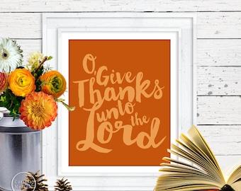 O Give Thanks Christian Prayer Printable in Pumpkin Spice