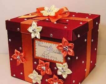 Wedding Card Box Red and Orange Gift Card Box Money Box Holder-Customize your color