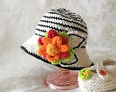 Baby Hat Knitting Hand Knitted Striped Baby Hat Knitted Striped Brimmed Hat Cotton Knitted Hat Children Clothing Newborn Hat with Flower