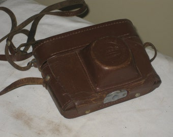 Old Russian Camera Storare Case, Vintage Brown Leather Long Strap Photo Display Prop