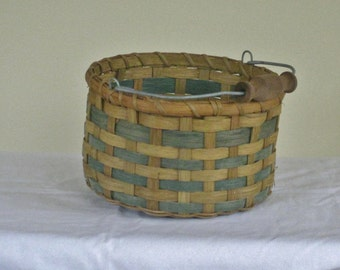 Vintage Woven Wood Basket with Wire Wood Bail Handle, Natural and Green Two Toned Round Mid Century