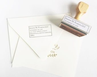 Classic Box Frame Address Stamp - Custom Rubber Stamp Traditional Elegant Formal Simple Gift for Lawyer Attorney Solicitor DIY Branding