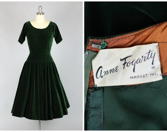 ON LAYAWAY 1950s Anne Fogarty Dress Green Velveteen