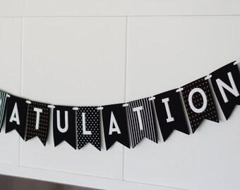 Congratulations Black White Gold Banner