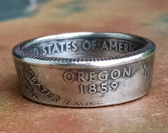 Oregon Quarter Ring - Coin Ring 2005 Quarter Dollar Coin Ring - Size: 7 3/4
