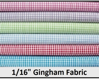 """Gingham 1/16"""" Check - 100% Cotton Woven By the Half Yard"""