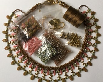 Pink Coral an Embellished Beaded Kumihimo Collar Kit, Free Canvas Tote, Tutorial Sold Separatley