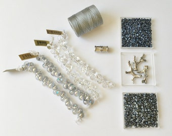 Silvery Sea Fully Beaded Kumihimo Necklace Kit, Tutorial Sold Separately