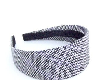 SALE Wide Houndstooth Headband - Black, Off-White, Lavender - Blair Waldorf Headband - Preppy Plaid Headband for Girls and Adults