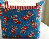 Fabric Organizer Basket Storage Container Bin - Dr Seuss The Cat In The Hats - Toss Hats Blue