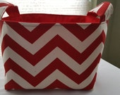 Fabric Organizer Container Bin Storage Basket - Chevron Red Zig Zag