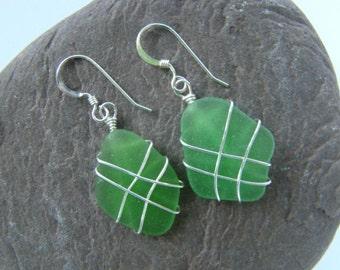 Emerald Green Sea Glass Earrings - Sterling Silver Wire Wrapped