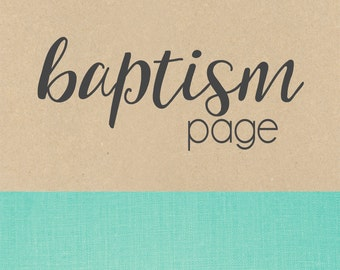 BAPTISM pages // baby book, baby gift, add on page, baby keepsake
