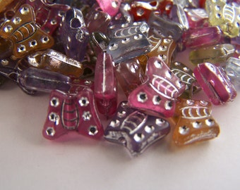 FREE SHIPPING - 145 pcs Decorated Butterfly Acrylic Beads (#1318)