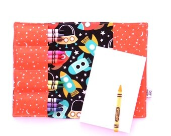 Crayon Notebook - Space Station - rockets tula Coloring Folder Rocket Crayon & Notepad Set, artfolio crayon folder kids drawing folder