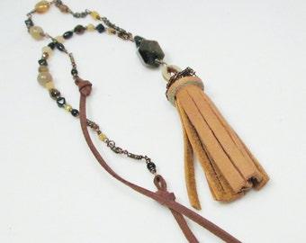 Leather Tassel Necklace Tigereye Gemstone Long Tassel Necklace Long Necklace Long Beaded Necklace