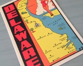 Vintage 1960s Delaware Decal. Pinup Girl. Travel / Luggage Sticker.