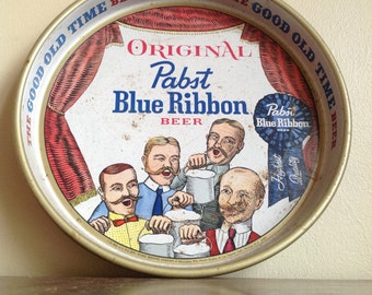 Vintage Original Pabst Blue Ribbon Metal Tray