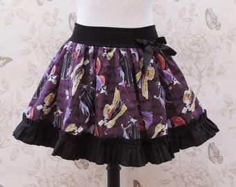 Black & purple villains ruffled  stretch skirt
