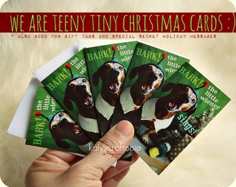 Set of 10 Tiny Dachshund Christmas Cards  Bark! The Little Wiener Sings