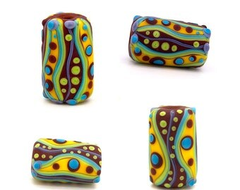 Boh Hippie // Art Glass // Lampwork bead in multicolor and stripes & dots // 1 big hole bead