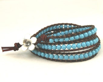 Triple Wrap Bracelet . Multi Wrap Pearl Bracelet . Leather Cord Jewelry . Turquoise Blue Swarovski Pearls