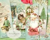 30% OFF SALE - BOOKMARKS Sweet Winter - Digital Collage Tags - Digital Christmas Tags - Christmas collage images - vintage christmas images