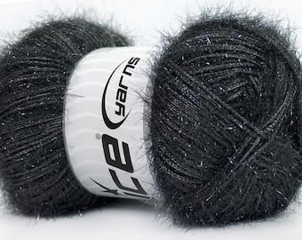 ice yarns sparkle dark grey gray lurex metallic yarn shimmering worsted afghan aran medium 100 gr ships from usa at usps cost 35768