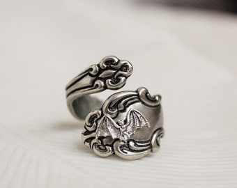 VACATION SALE Bat Spoon Ring Silver Victorian Gothic