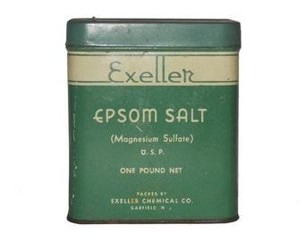 Vintage Tin, Exeller Epsom Salt Tin, Vintage Tins, Tin Container, Old Tin, Advertising, Tins, Tin Collectibles by NewYorkMarketplace on Etsy