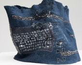 Felt Cowl Extra Large Woman - Wearable Art - Merino Wool Scarf - Autumn Winter Neck piece - Gray Blue -Original Geometrical Pattern
