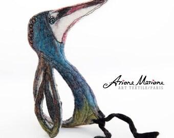 Felt Critter Fiber Art - Fantasie Animal Art - Felt Bird Home Decor - Happy Critter Original Art - Contemporary Art Made In France, Paris