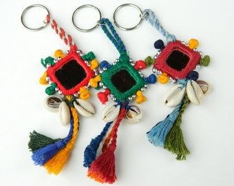 Beaded Mirror Asian Indian Keychain Purse Charm with Cotton Tassels and Cowrie Shells