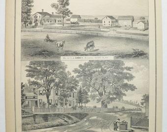 Vintage Farm Architecture Print, Richmond NY  1876 Antique Farm Print, Ontario County NY History, Abbey Farm, Hamilton Home Genealogy