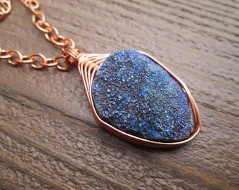sparkly blue druzy wire wrapped copper pendant on copper chain