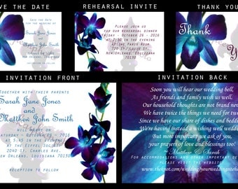 Blue Orchid Fleur de Lis Wedding Invitation DIY Printable Package