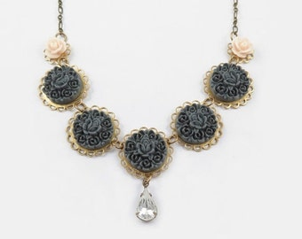 Gray Flower Necklace, Grey Rose Necklace, Statement Necklace, Garland Flower Necklace, Rhinestone Necklace
