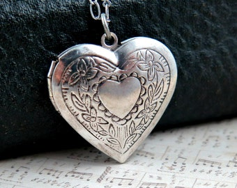 Silver Heart Locket Necklace, Heart Pendant, Wedding Gift, Anniversary Gift, Silver Locket, Photo Locket, Initial Locket