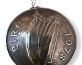 Irish Necklace Coin Pendant Celtic Harp Pendant Vintage Jewelry Made In Ireland Music Unique Charm Finding Bead Foreign World Travel