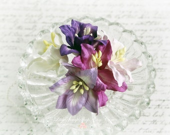 Shades of Purple  Mulberry Lilies Set of 5 for Scrapbooking, Cardmaking, Altered Art, Wedding, Mini Album