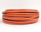 Stitched Leather - 5mm Flat - Orange - 5FS-5 - Choose Your Length