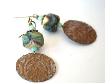 Rustic Earrings, Embossed Copper Earrings, Lampwork Glass Bead Earrings, Blue Patina Earrings, Etched Glass Bead Earrings, Boho Jewelry