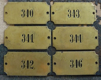 Vintage Numbered Brass Tag, 2-Hole Rectangle Plaque, Industrial Salvage Door Number, Sign Plate Number No 340, 341, 342, 343, 344