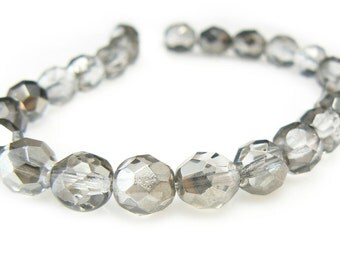 "8mm faceted round, platinum Czech fire-polished glass beads, 7"" strand (approx. 22 beads). New Year's, bachelorette party, Girl's night out"