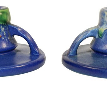 Roseville Pottery Fuchsia Blue Candle Holders 1132-2
