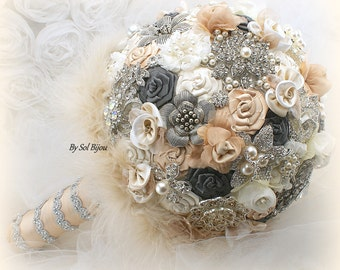 Brooch Bouquet, Champagne, Tan, Ivory, Cream, Pewter, Grey, Elegant Wedding,Vintage-Style,Bridal, Jeweled, Feather Bouquet, Pearls, Crystals